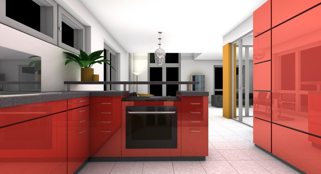 L shaped Red modular kitchen design