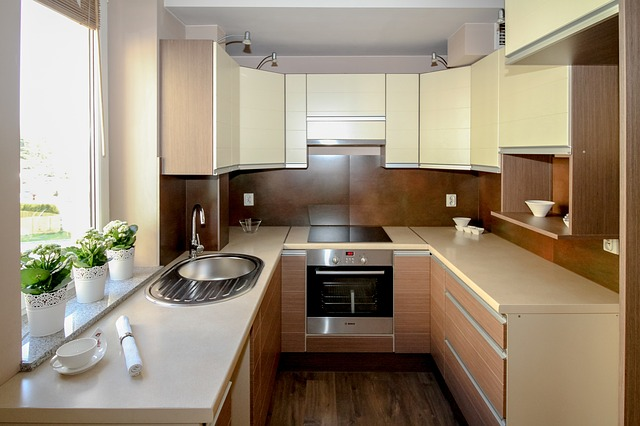 U shaped small modular kitchen
